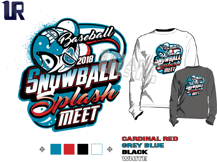 BASEBALL SNOWBALL SPLASH MEET tshirt vector design separated 4 color