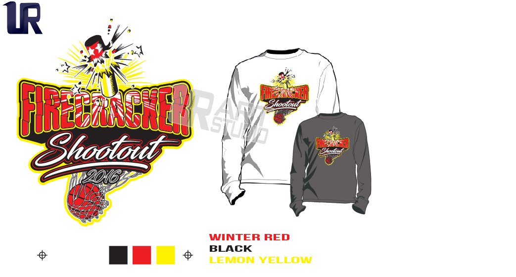 DOWNLOAD 2018 FIRECRACKER SHOOTOUT Tshirt vector design separated 3 color