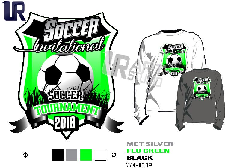 PRINT 2018 SOCCER INVITATIONAL TOURNAMENT Tshirt vector design separated 4 color