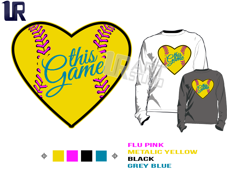 SOFTBALL I LOVE THIS GAME HEART SIMPLE AND BOLD tshirt vector design separated 4 color
