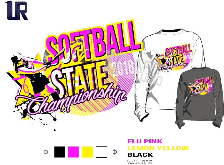 SOFTBALL state championship 2018 Tshirt vector design separated 4 color