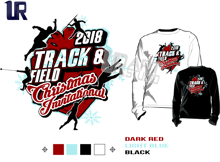 TRACK & FIELD CHRISTMAS INVITATIONAL tshirt vector design separated 4 color