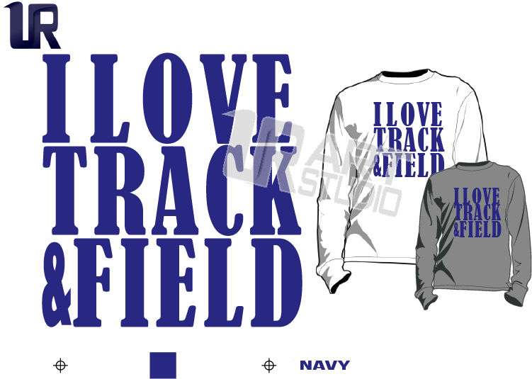TSHIRT LOGO PRINT READY ONE COLOR I LOVE TRACK AND FIELD navy