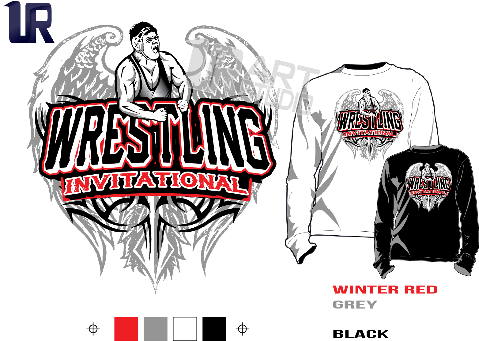 WRESTLING INVITATIONAL tshirt vector design separated 4 color
