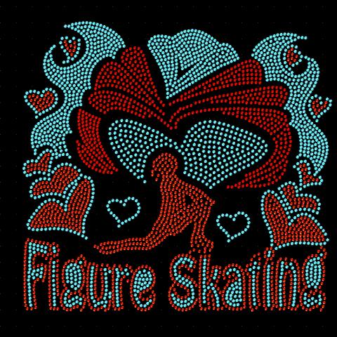 Figure Skating Hot Fix Rhinestones Design for Tshirt