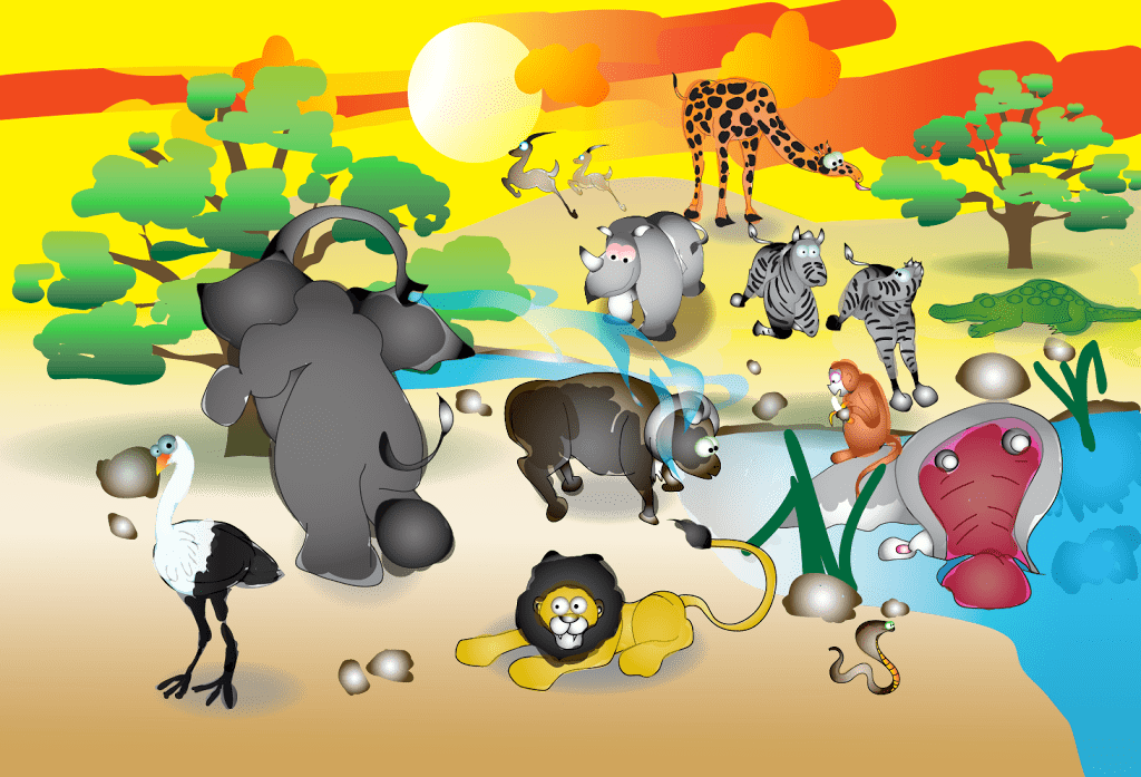 Kids Illustration In Vector Format For African Animals