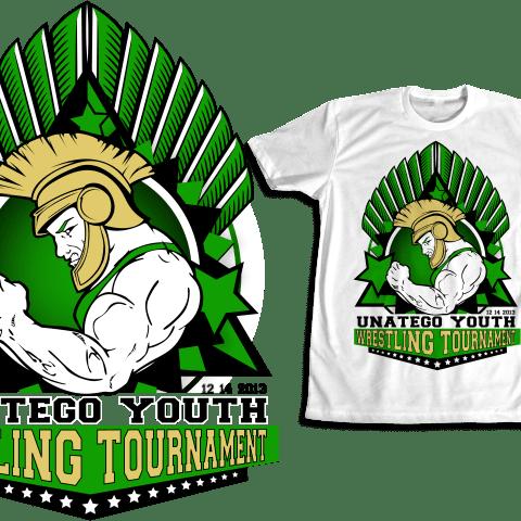 Wrestling vector logo design for apparel