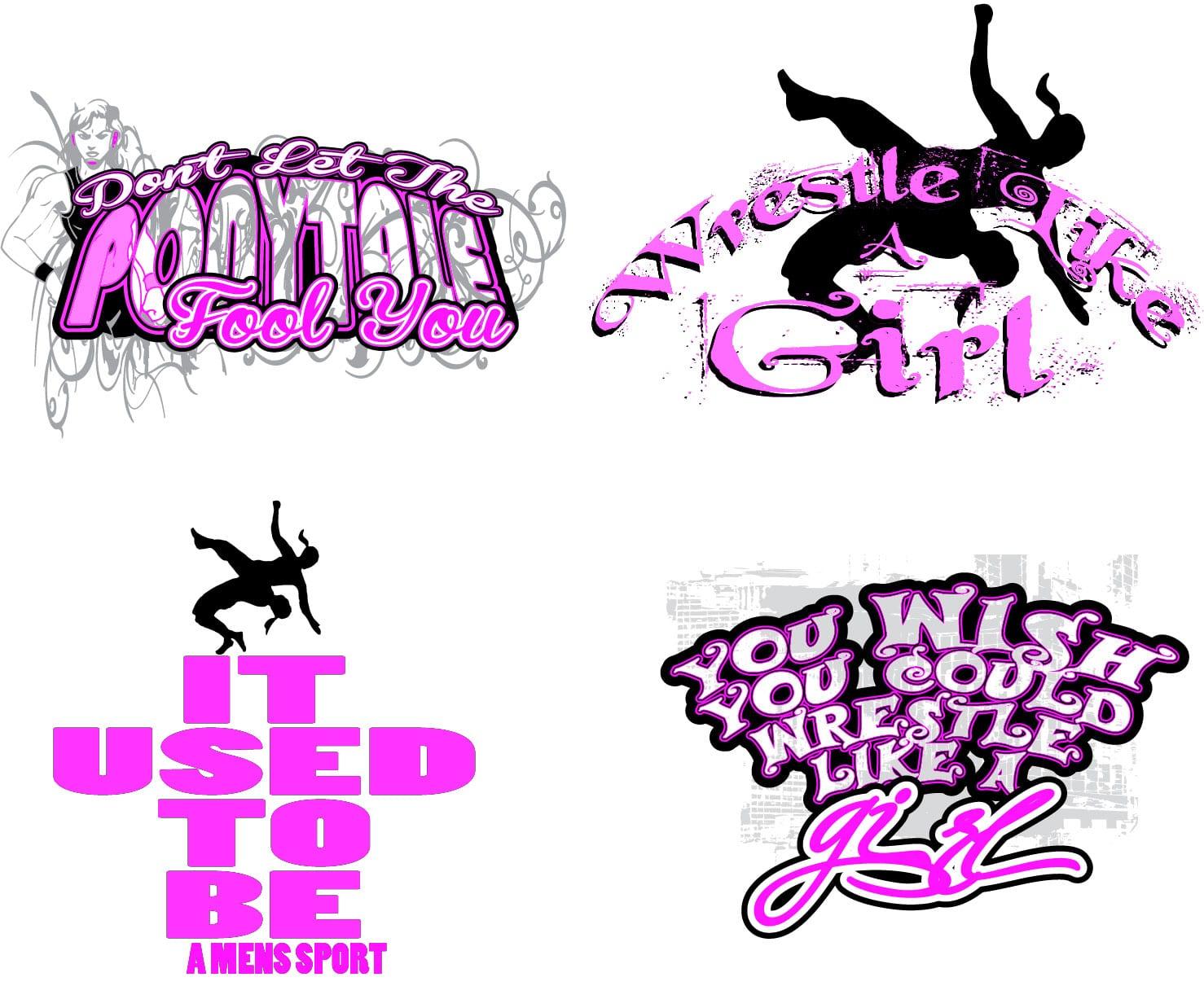 Girls Wrestling vector logo design for tshirt - Ur Art Studio