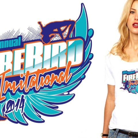 2014 30th Annual Fire Bird Invitational track and field tshirt design