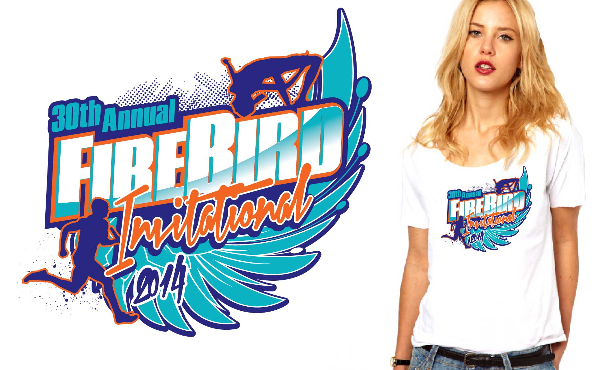 2014 30th Annual Fire Bird Invitational cross country tshirt design