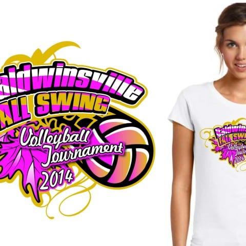 2014 Baldwinsville Fall Swing Volleyball Tournament tshirt design