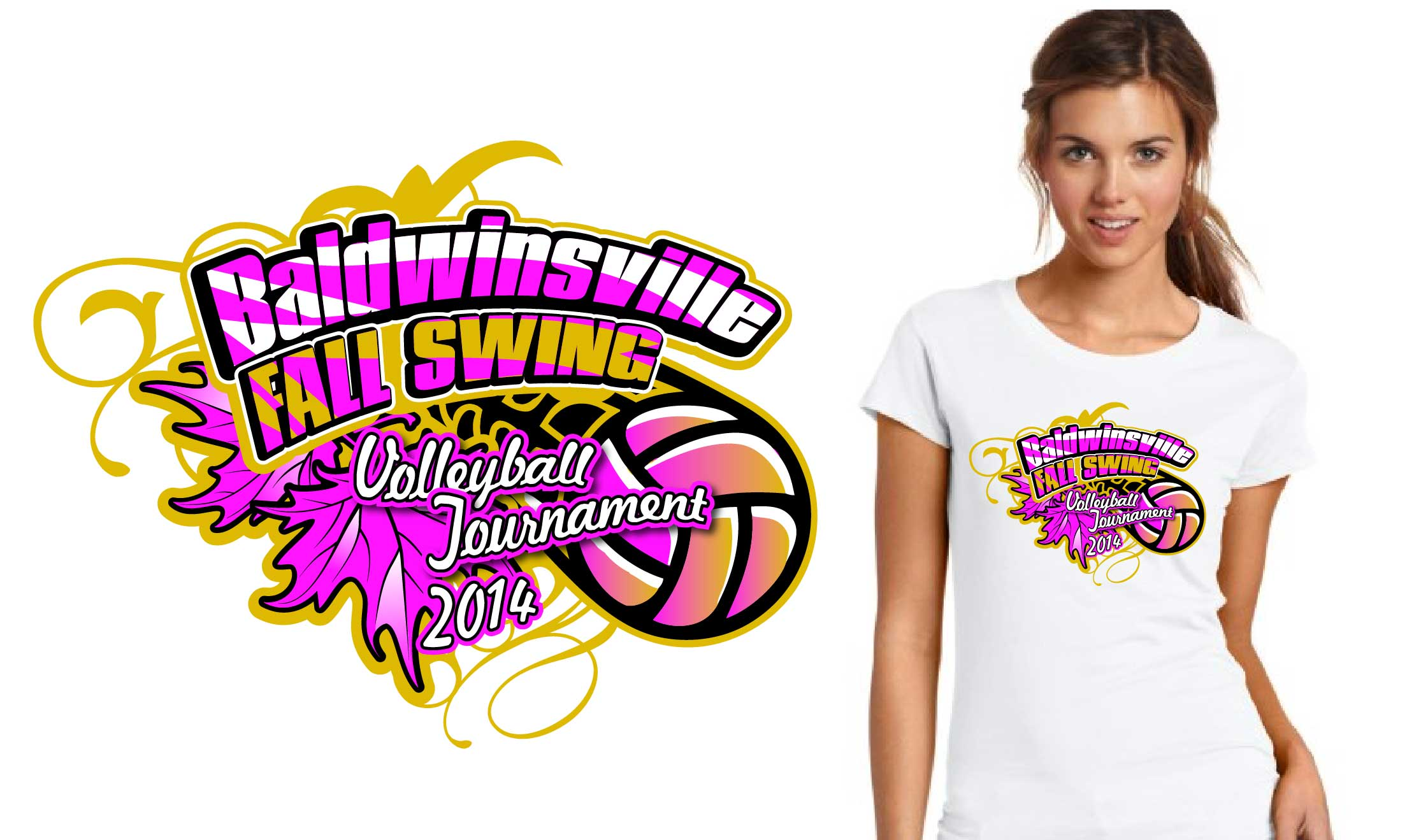 2014 Baldwinsville Fall Swing Volleyball Tournament tshirt design