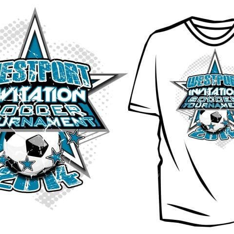 2014 Westport Invitation Soccer Tournament awesome logo design for tshirt