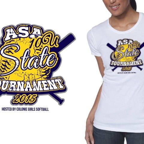 2015 10U ASA State Tournament awesome t shirt logo design for softball event by ur art studio