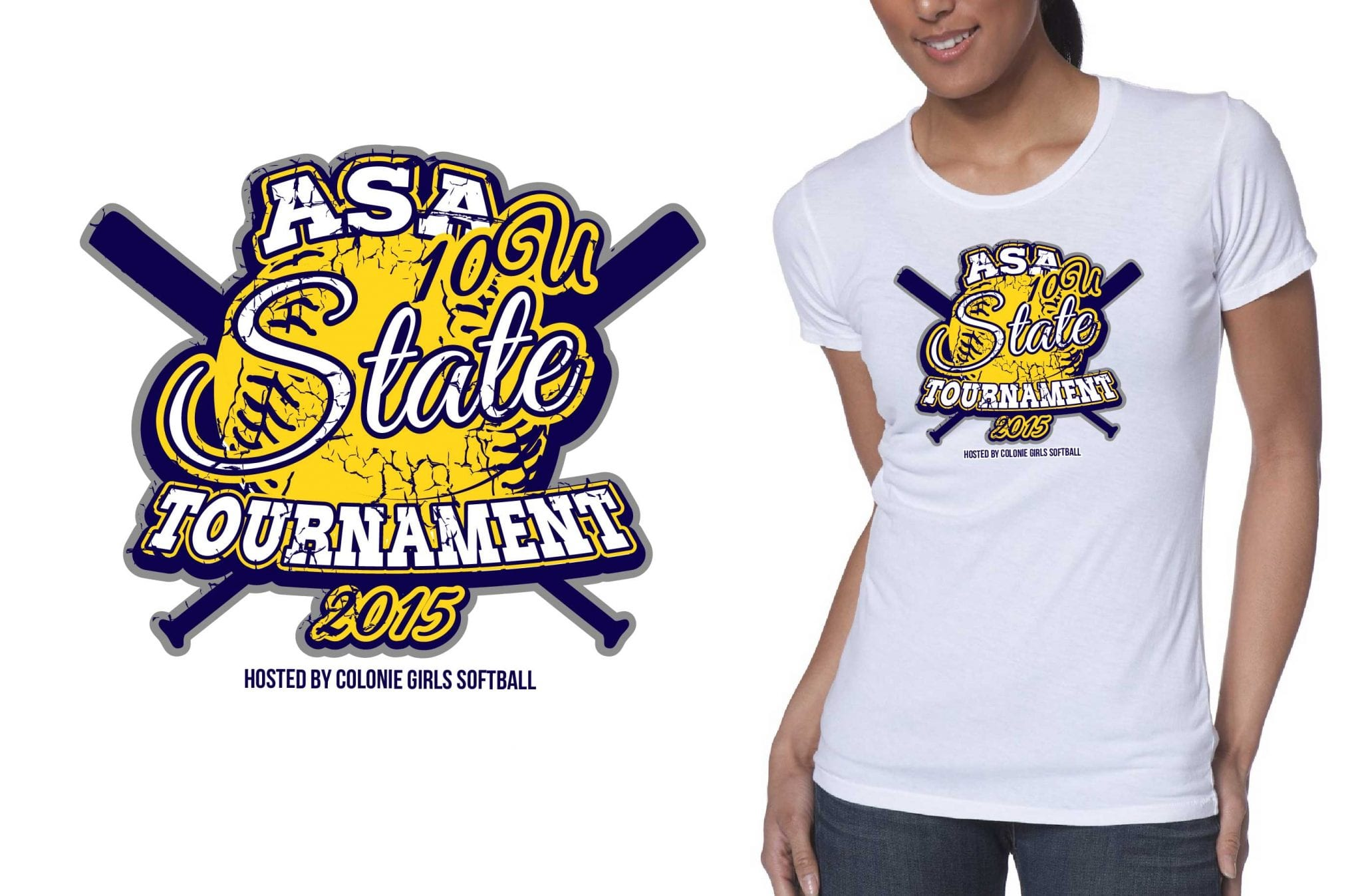 2015 10U ASA State Tournament awesome t shirt logo design for softball event by ur art studio