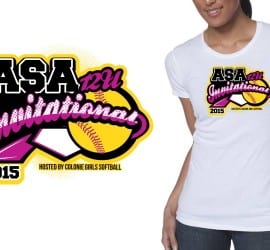 2015 12U ASA Invitational cool softball color separated tshirt logo design by ur art studio