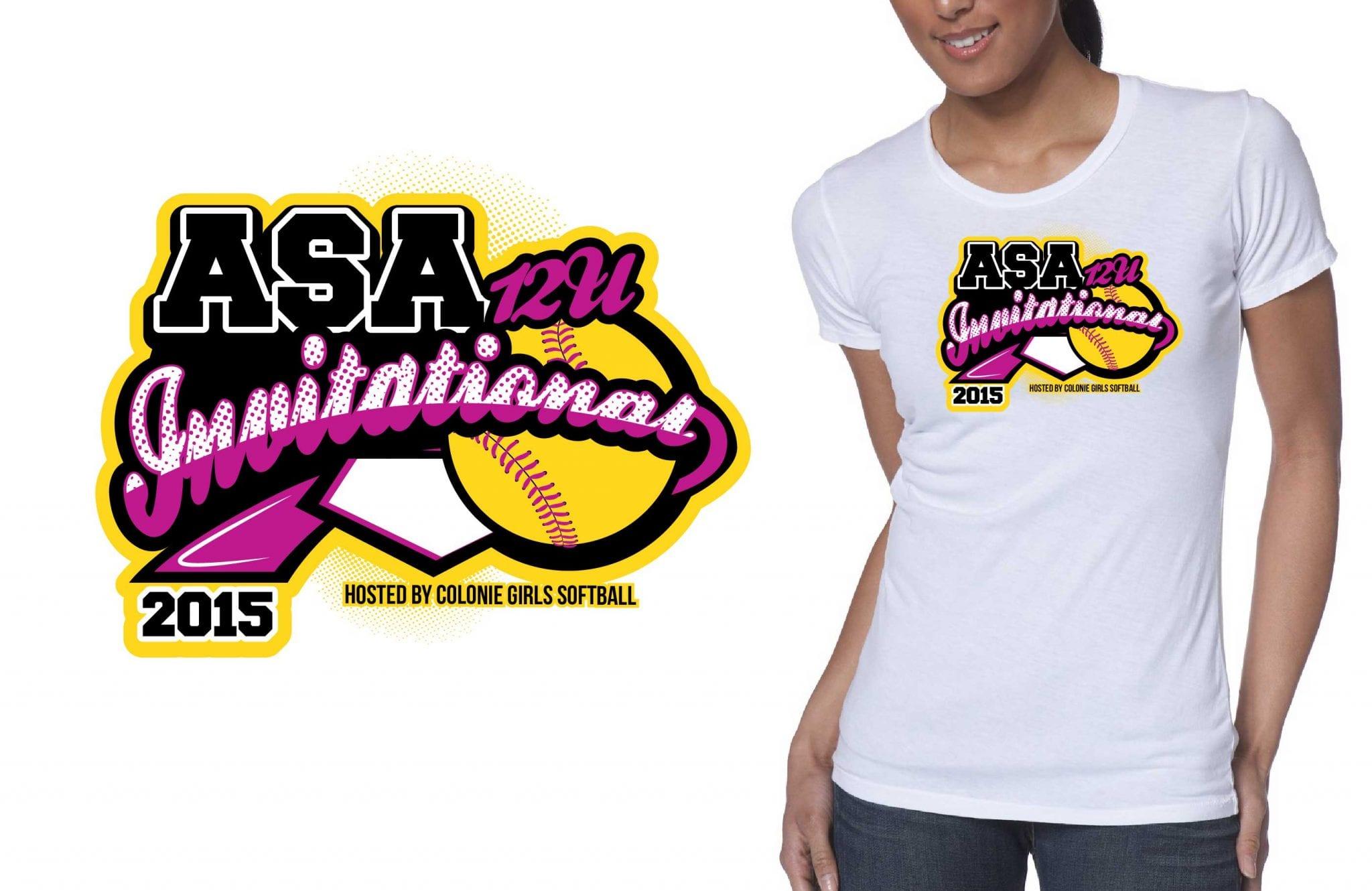 2015 12U ASA Invitational cool softball color separated tshirt logo design by ur art studio