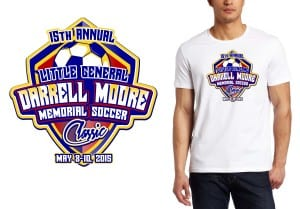 2015 15th Annual Little General Darrell Moore Memorial Soccer Classic  best graphic t shirt design by ur art studio for soccer event vector format color separated