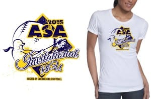 2015 16U-18U ASA Invitational best t shirt logo design for softball event color separated vector file by ur art studio graphic design studio