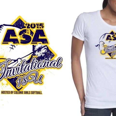 2015 16U-18U ASA Invitational best t shirt logo design for softball event color separated vector file by ur art studio graphic design studio
