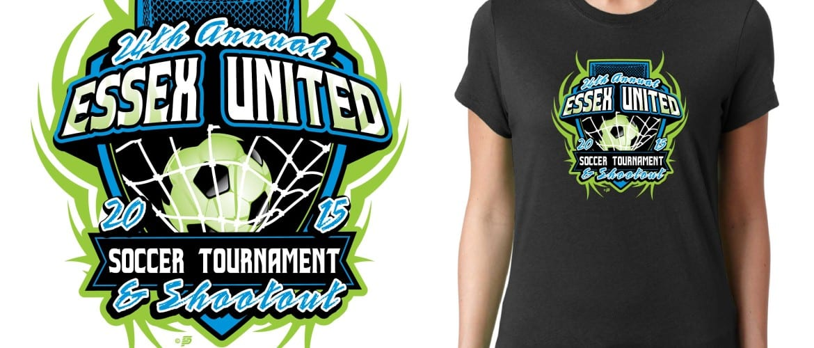 2015 24th Annual Essex United Soccer Tournament and Shootout Vector Logo design for T-Shirt
