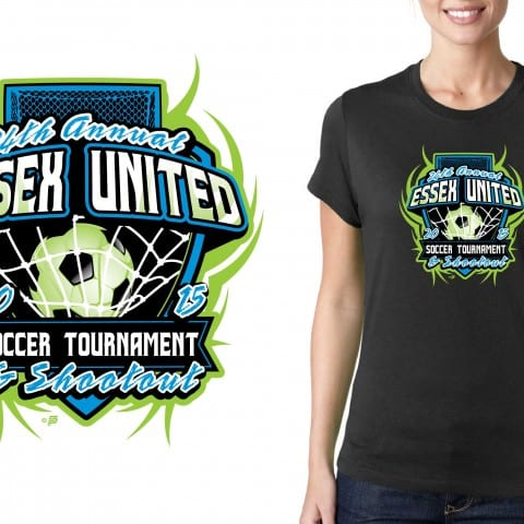 Vector Logo design for T-Shirt 2015 24th Annual Essex United Soccer Tournament and Shootout