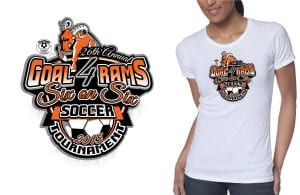 2015 26th Annual Goal 4 Rams Six on Six Soccer Tournament cool soccer t shirt logo design color separated by graphic designer at ur art studio cleveland ohio