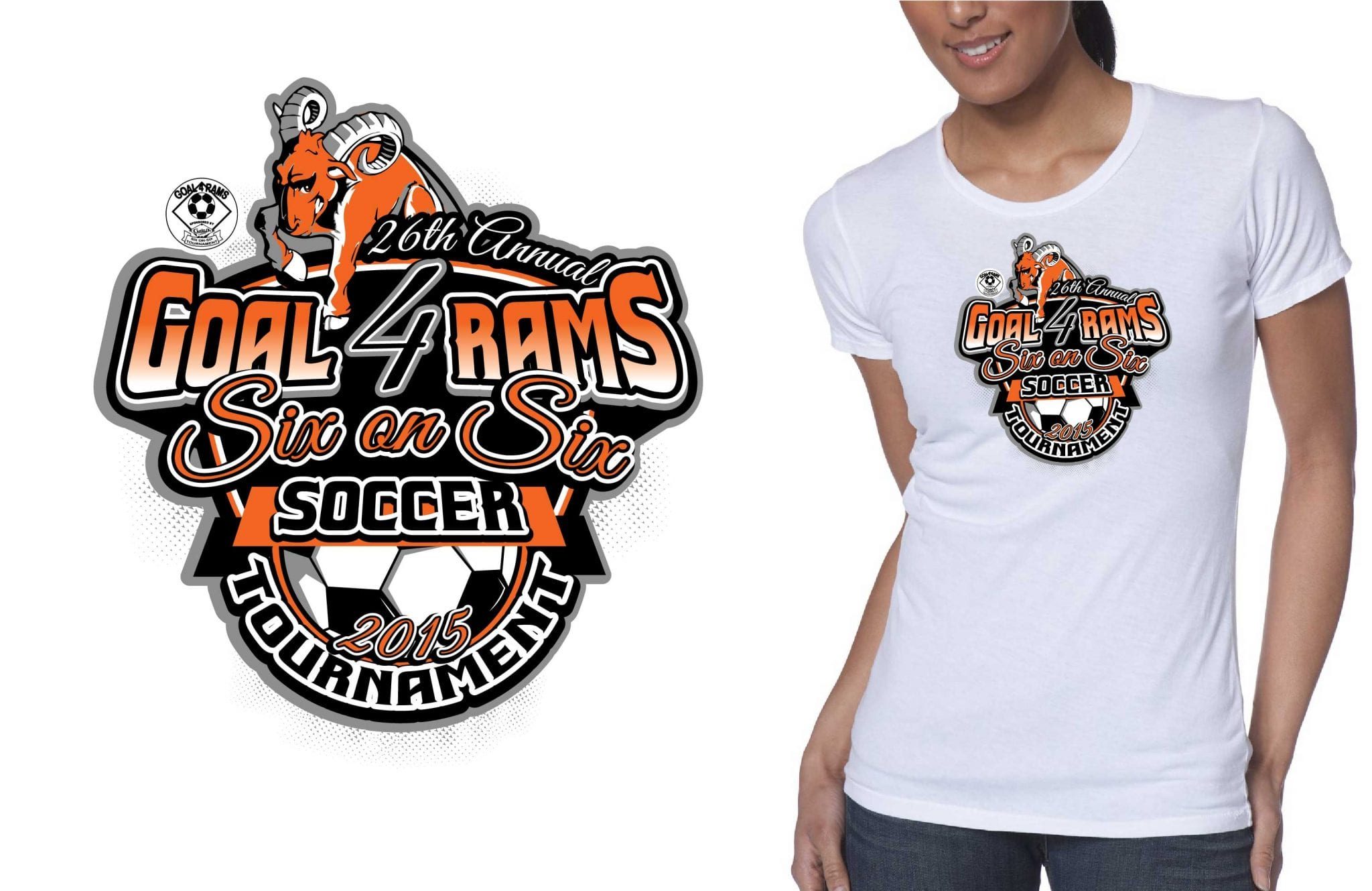 2015 26th annual goal 4 rams six on six soccer tournament cool soccer t shirt logo design color separated by graphic designer at ur art studio cleveland