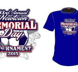 2015 33rd Annual Newtown Memorial Day Tournament cool soccer tshirt design