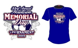 2015 33rd Annual Newtown Memorial Day Tournament cool soccer tshirt design