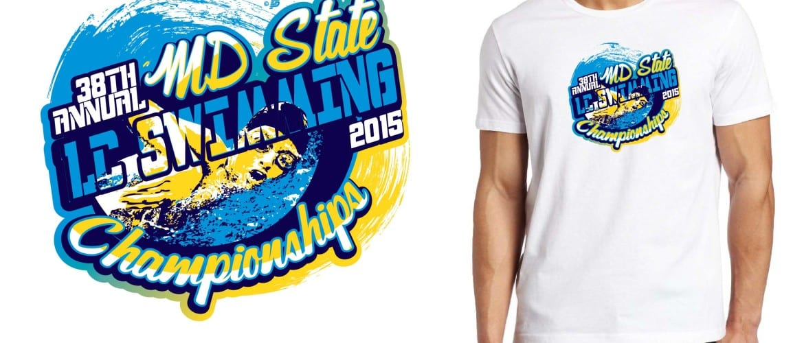 2015 38th Annual MD State LC Swimming Championships T-Shirt Vector Logo Design