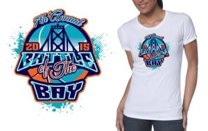 2015 7th Annual Battle of the Bay  cool  t shirt design for basketball event color separated vector format by graphic design studio ur art studio