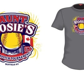 2015 Aunt Rosie's International softball tshirt design