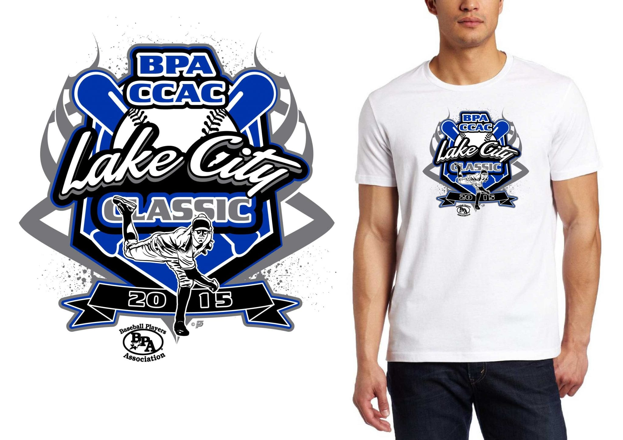 ccac lake city classic professional baseball logo design for tshirt