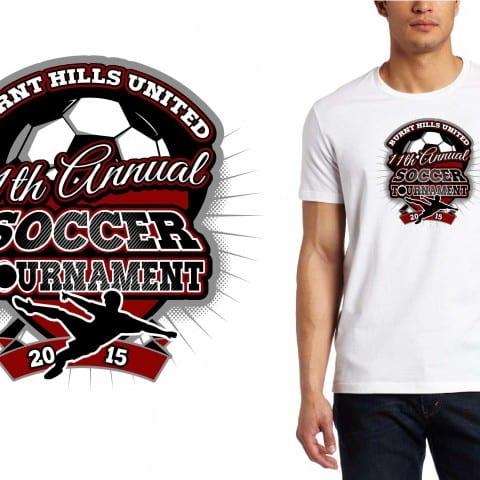 2015 Burnt Hills United 11th Annual Soccer Tournament Best T-Shirt Vector logo design