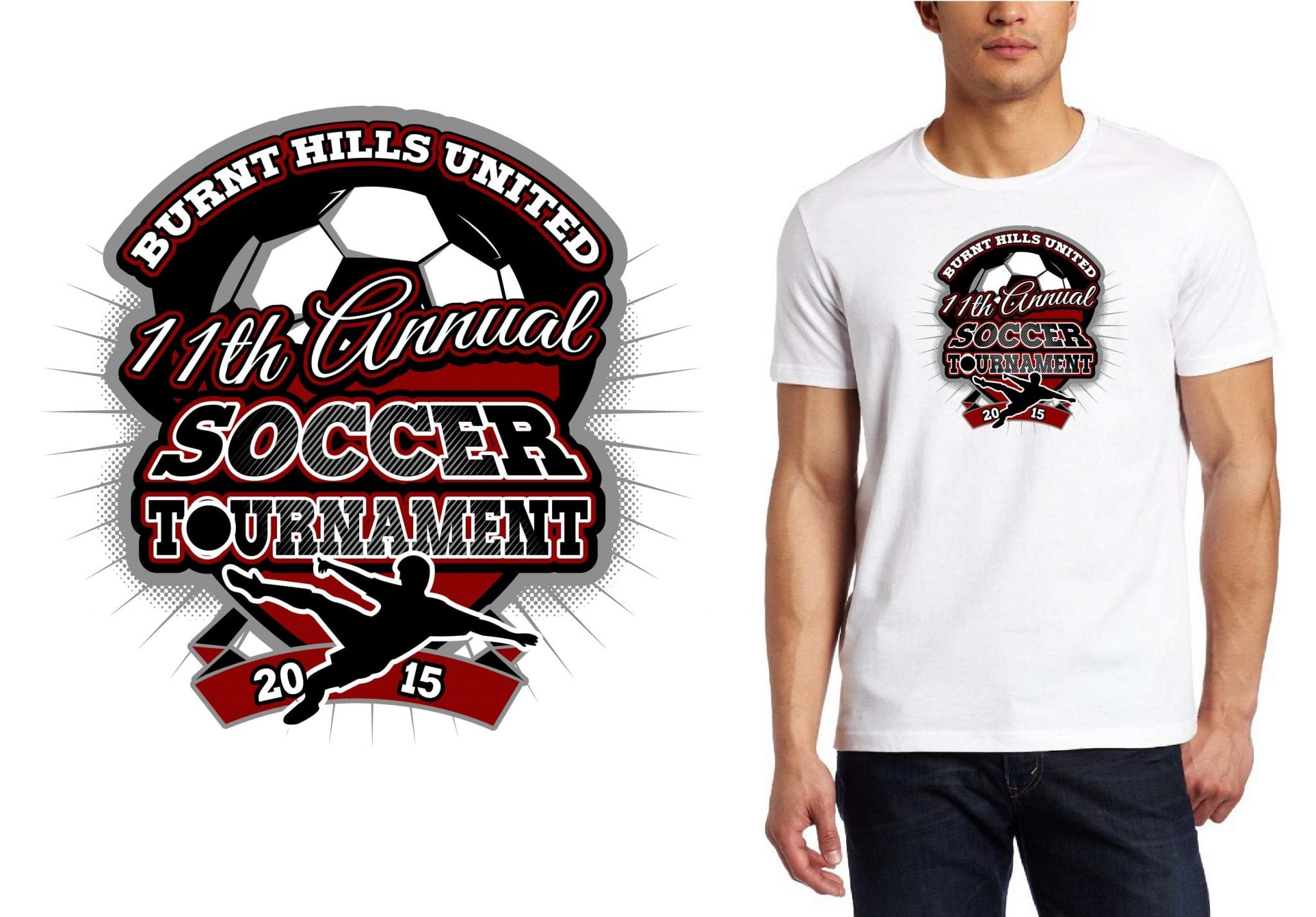 Best T-Shirt Vector logo design for 2015 Burnt Hills United 11th Annual Soccer Tournament