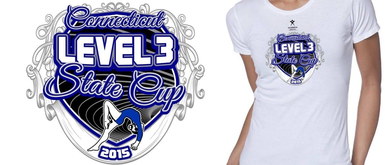 2015 CT Level 3 State Cup Girls Gymnastics Vector Tshirt Logo Design