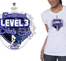 2015 CT Level 3 State Cup Girls Gymnastics Vector Tshirt Logo Design