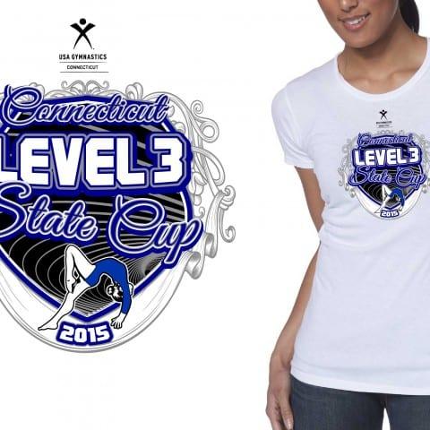 Girls Gymnastics Vector Tshirt Logo Design 2015 CT Level 3 State Cup