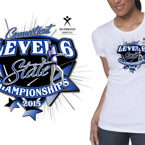 Gymnastic Vector Tshirt Logo Design 2015 CT Level 6 State Championship