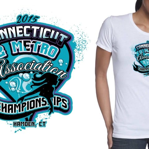 2015 Connecticut and Metro Association Championships swimming vector logo design by urartstudio