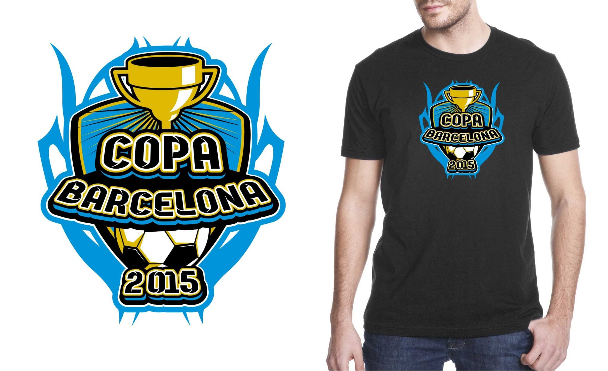 Eyecatching vector logo design for soccer event for tshirt 2015 Copa Barcelona