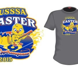 2015 Easter Extravaganza cool softball tshirt logo design by urartstudio