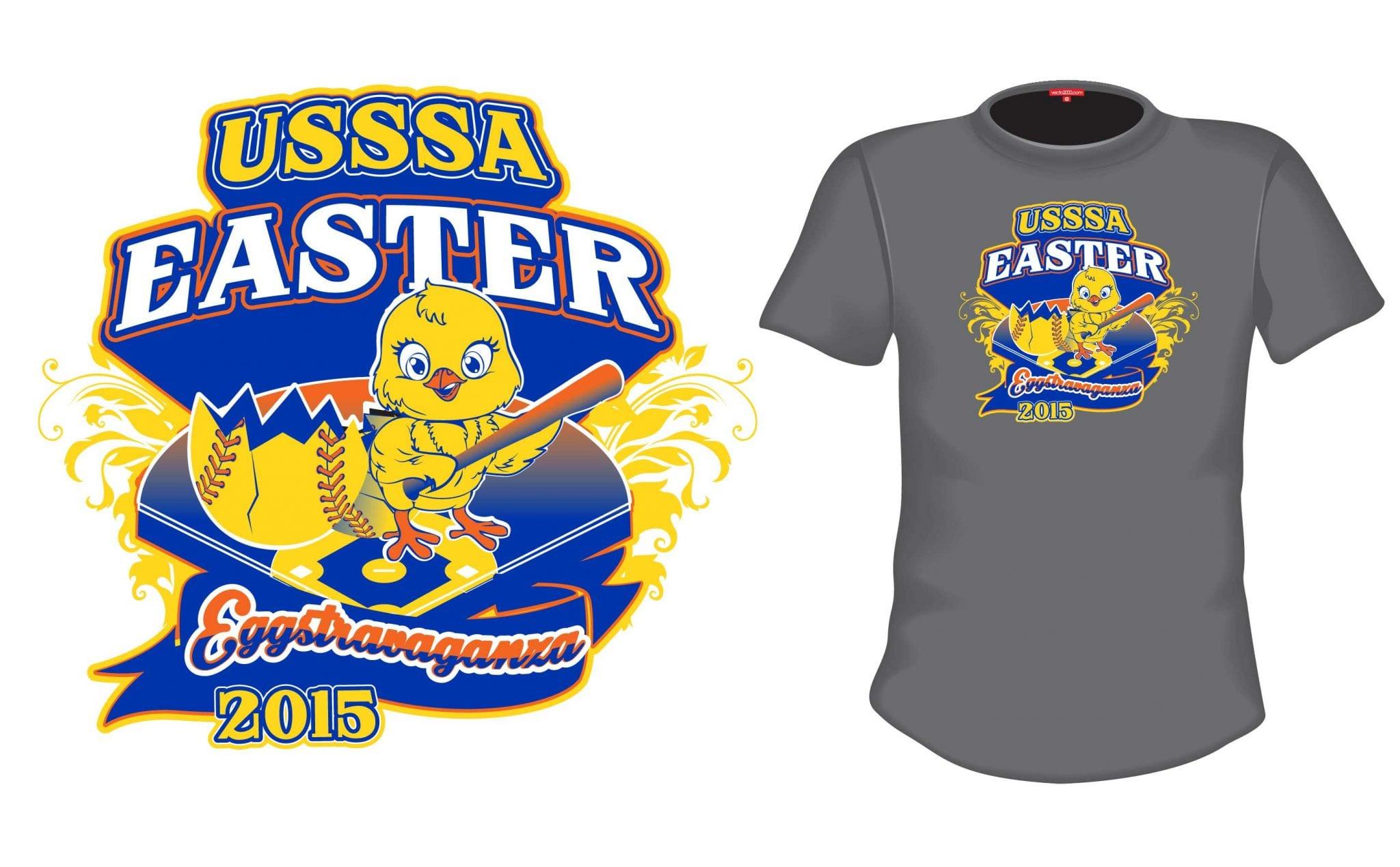 2015 Easter Extravaganza cool softball tshirt logo design by urartstudio