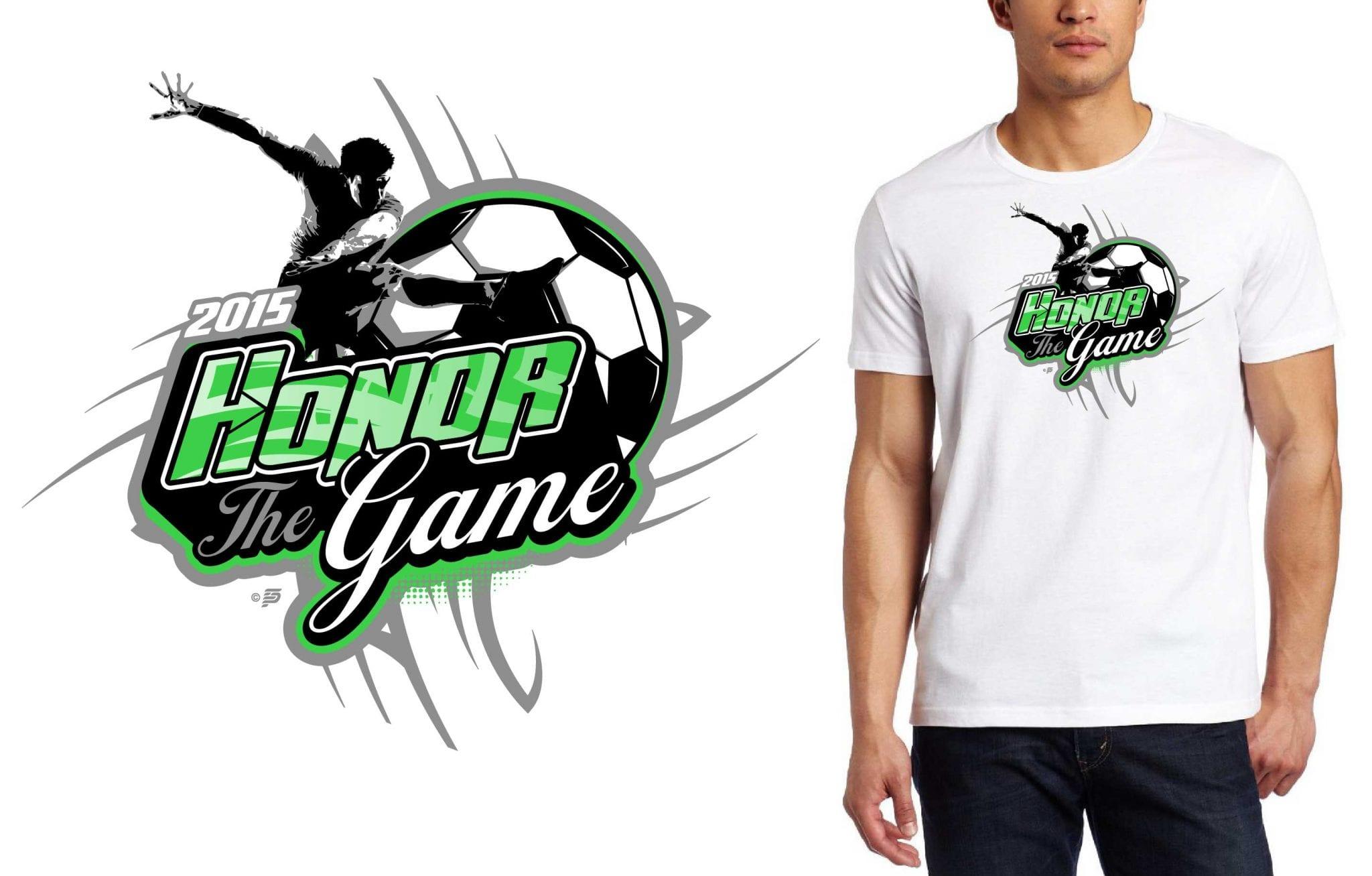 2015 Honor The Game Soccer T-Shirt Logo Design