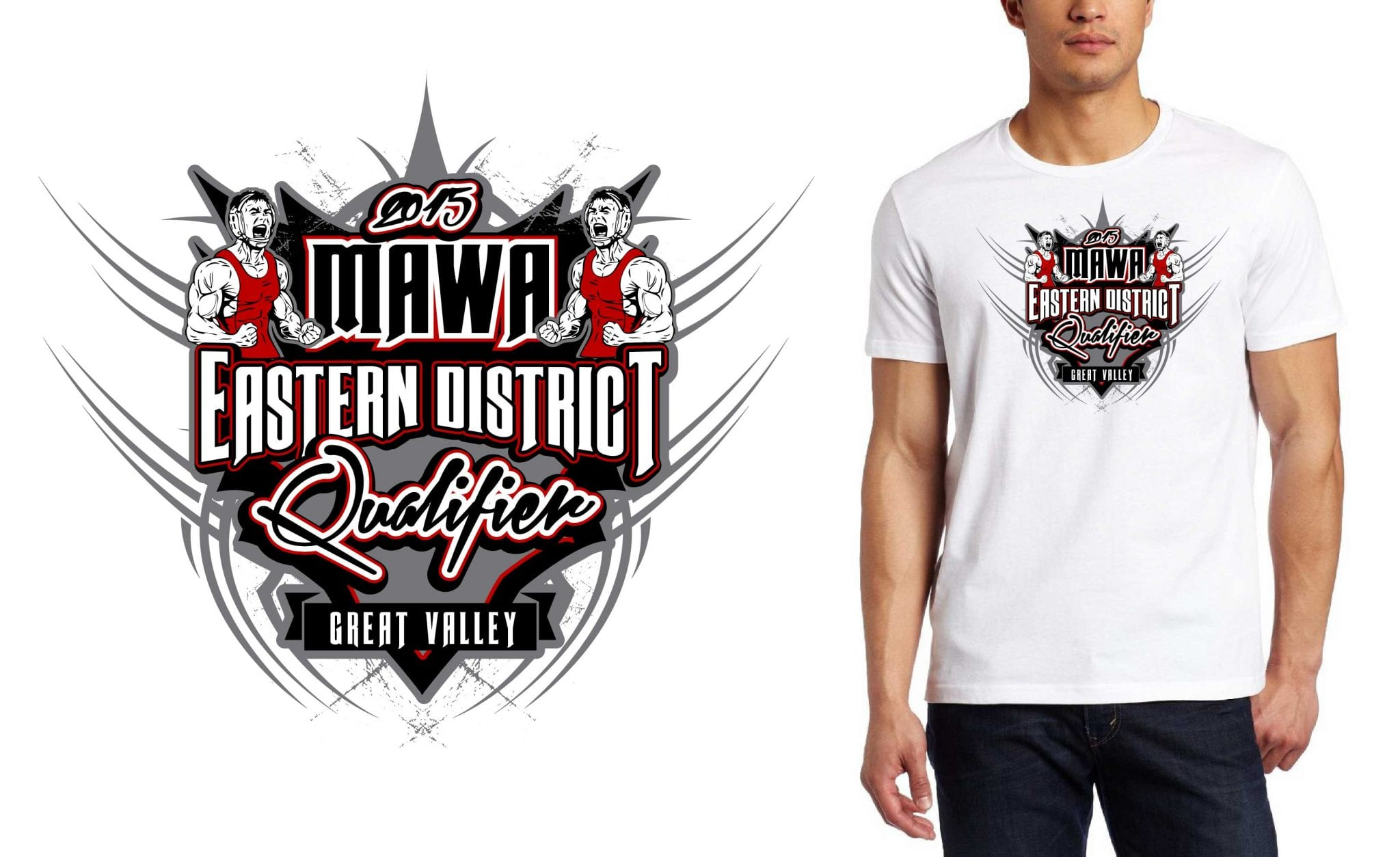 2015 MAWA Eastern District Qualifier cool wrestling tshirt design