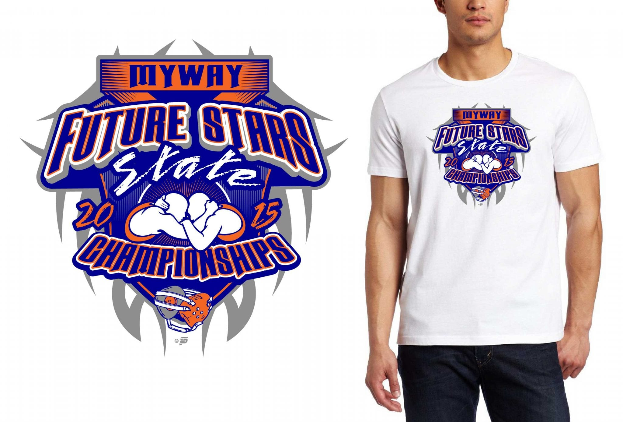 2015 MYWAY Future Stars State Championships cool wrestling logo design for tshirt
