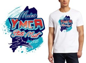 2015 Maine YMCA State Meet swimming tshirt design