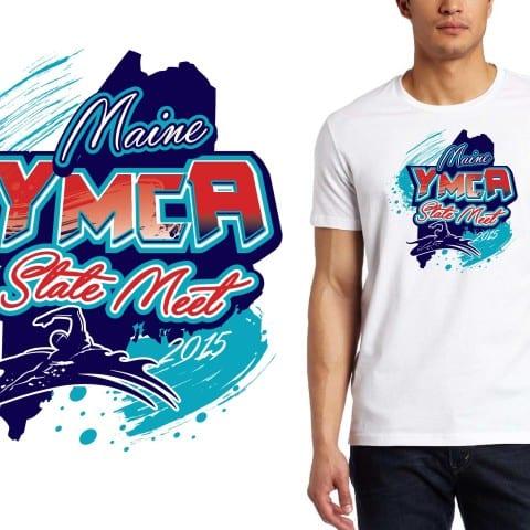 2015 Maine YMCA State Meet swimming tshirt design