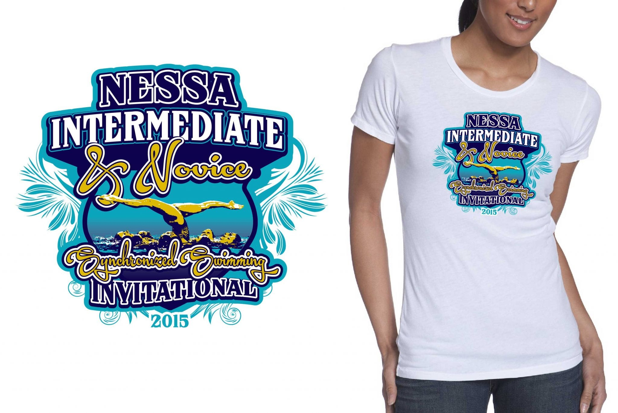 2015 NESSA Intermediate Championships and Novice Invitational cool synchronized swimming tshirt design